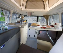 Kea Camper 4 Wheel Drive Rental interior