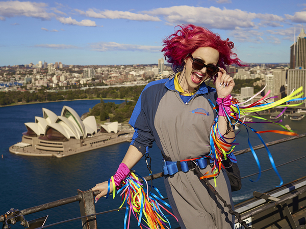 Courtney Act on Harbour Bridge