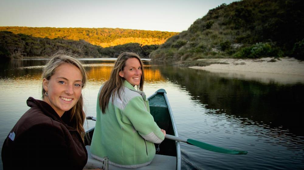 2 Women Enjoying a Boat Ride