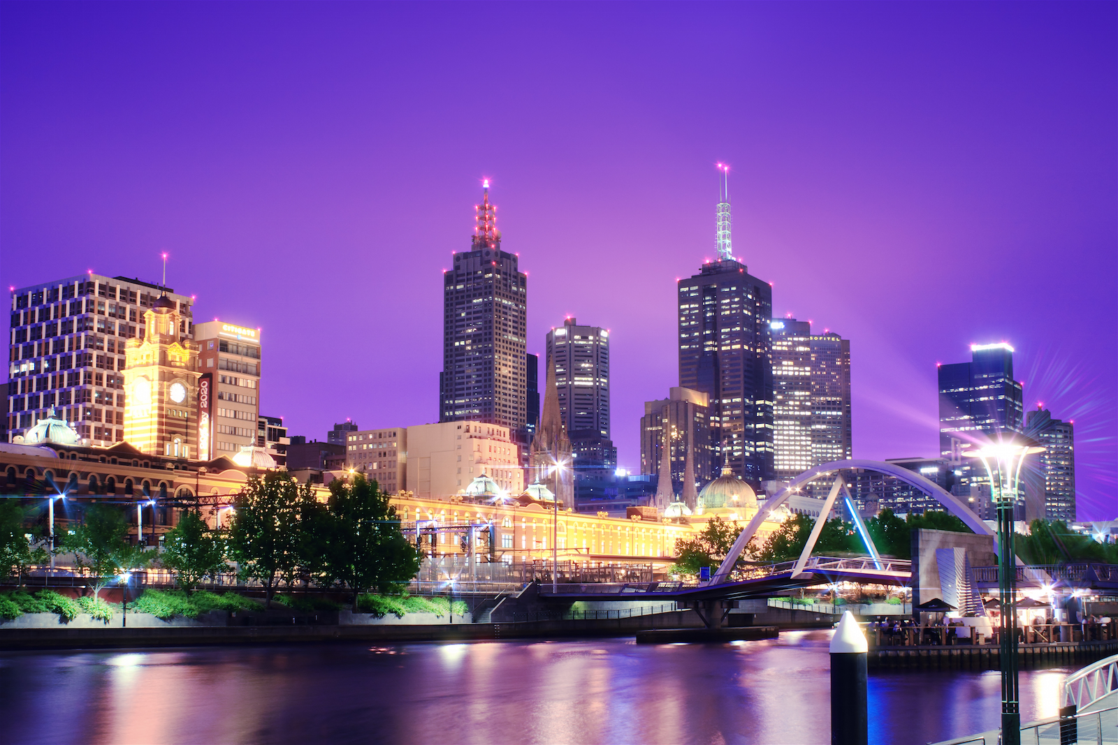 Melbourne skyline view at night