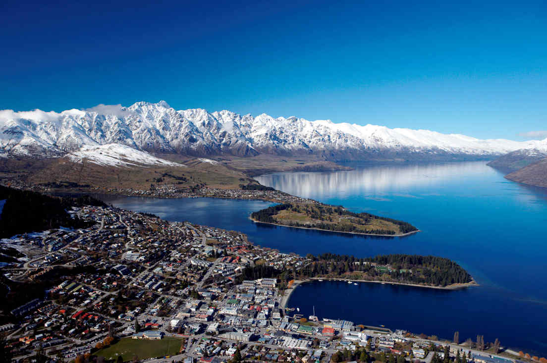 Aerial view of Queentown in New Zealand
