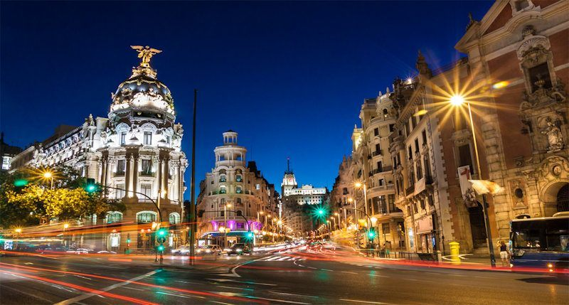 Night view of central Madrid