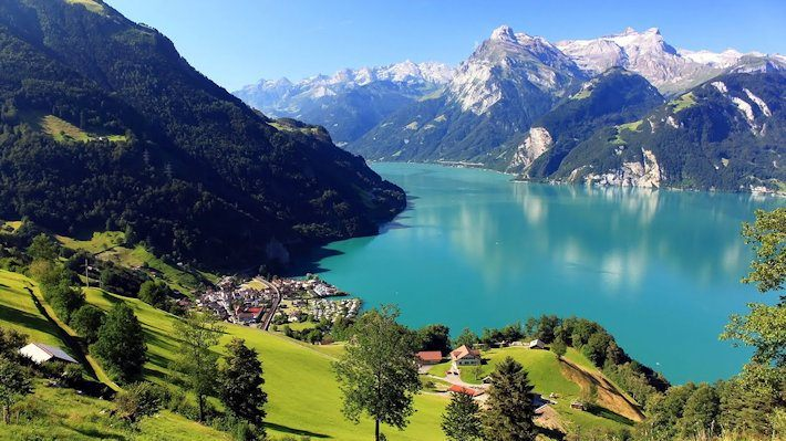 Swiss Alps and Lake