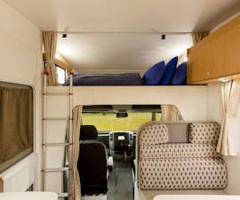 Bed area inside Pandora RV from Star RV Campervan Hire