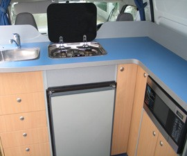 Mini Kitchen of Paradise Campervan from Camperman Australia