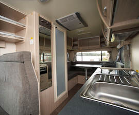 Kitchenette in Deluxe from Cruisin Motorhomes