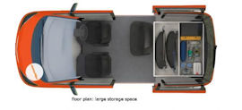 Floor Plan: Storage space of 2 Berth Beta camper