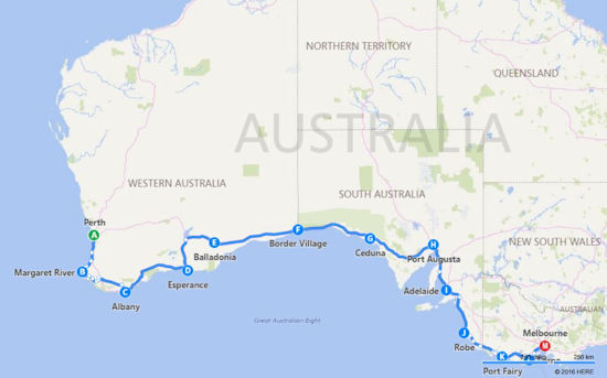 Perth to Melbourne Itinerary Map
